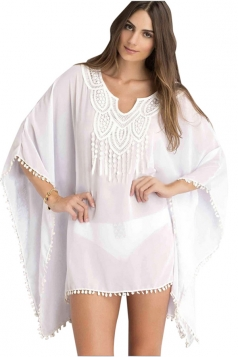 Womens Sexy Sheer Batwing Sleeve Plain Beach Dress White