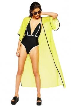 Womens Sexy Sheer Half Sleeve Long Beach Cover-up Yellow