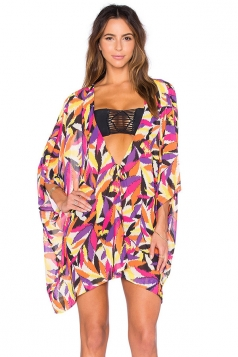 Womens Sexy Deep V Neck Printed Beach Cover-up Rose Red