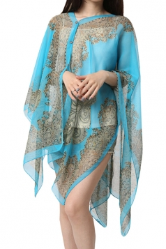 Womens Sexy Exotic Printed Irregular Sheer Shawl Sarong Blue