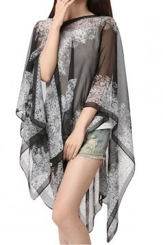 Womens Sexy Exotic Printed Irregular Sheer Shawl Sarong Black