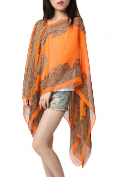 Womens Sexy Exotic Printed Irregular Sheer Shawl Sarong Orange