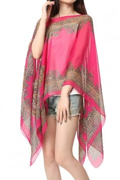 Womens Sexy Exotic Printed Irregular Sheer Shawl Sarong Rose Red