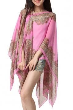 Womens Sexy Exotic Printed Irregular Sheer Shawl Sarong Pink