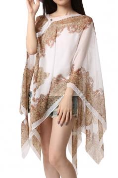 Womens Sexy Exotic Printed Irregular Sheer Shawl Sarong White