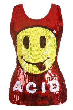 Womens Chic Sequined Emoji Pattern Tank Top Red