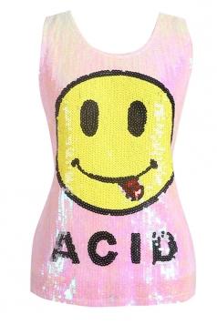 Womens Chic Sequined Emoji Pattern Tank Top Pink