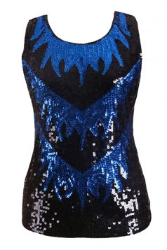Womens Sexy Color Block Sequined Tank Top Blue