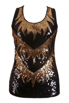 Womens Sexy Color Block Sequined Tank Top Gold