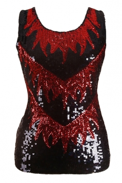 Womens Sexy Color Block Sequined Tank Top Red