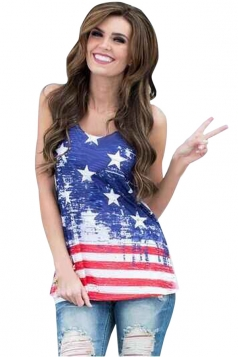 Womens Chic Stars and Stripes Printed Sleeveless Tank Top Blue