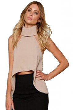 Womens Sexy Plain High Collar Irregular Hem Sleeveless Top Khaki