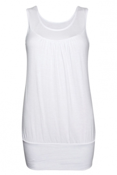 Womens Sexy Draped Sleeveless Plain Long Tank Top White