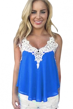 Womens Sexy Chiffon Lace Trim Patchwork Camisole Top Blue