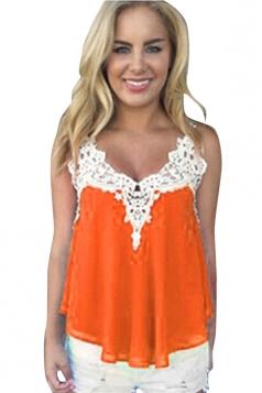 Womens Sexy Chiffon Lace Trim Patchwork Camisole Top Orange