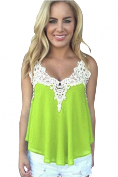 Womens Sexy Chiffon Lace Trim Patchwork Camisole Top Light Green