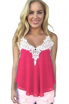 Womens Sexy Chiffon Lace Trim Patchwork Camisole Top Rose Red
