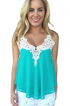 Womens Sexy Chiffon Lace Trim Patchwork Camisole Top Turquoise