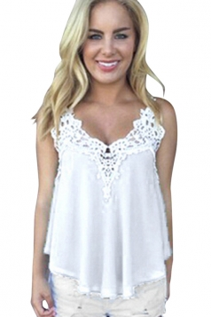 Womens Sexy Chiffon Lace Trim Patchwork Camisole Top White
