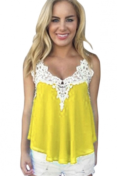 Womens Sexy Chiffon Lace Trim Patchwork Camisole Top Yellow