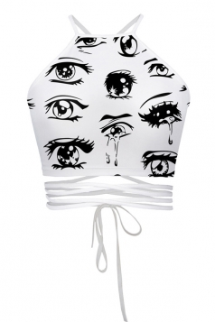 Womens Sexy Eyes Printed Cross Lace Up Camisole White
