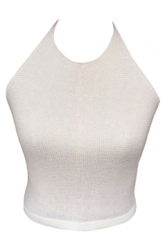 Womens Sexy Halter Off the Shoulder Crochet Plain Top White