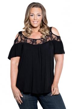 Womens Sexy Plus Size Cold Shoulder Lace Patchwork Blouse Black