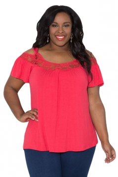 Womens Sexy Plus Size Cold Shoulder Lace Patchwork Blouse Rose Red