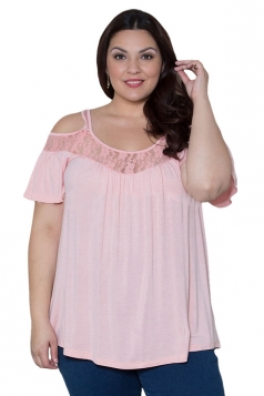 Womens Sexy Plus Size Cold Shoulder Lace Patchwork Blouse Pink