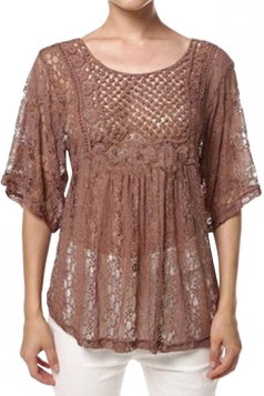 Womens Sexy Sheer Hollow Out Lace Batwing Sleeve Blouse Coffee
