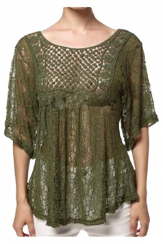 Womens Sexy Sheer Hollow Out Lace Batwing Sleeve Blouse Green