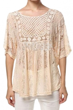 Womens Sexy Sheer Hollow Out Lace Batwing Sleeve Blouse Khaki