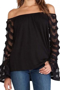 Womens Sexy Off the Shoulder Lace Patchwork Sleeve Blouse Black