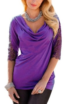 Womens Sexy Cowl Neck Lace Patchwork Sleeve Blouse Purple