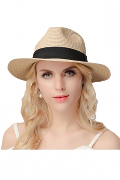 Womens Casual Straw Braid Summer Hat Beige White