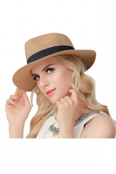 Womens Casual Straw Braid Summer Hat Khaki