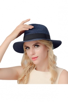 Womens Casual Straw Braid Summer Hat Navy Blue
