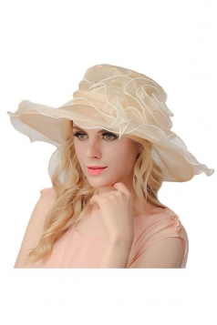 Womens Elegant Organza Flower Decor Summer Hat Beige White