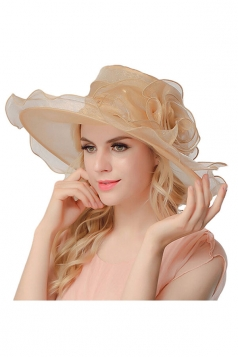 Womens Elegant Organza Flower Decor Summer Hat Khaki