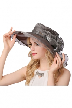 Womens Elegant Organza Flower Decor Summer Hat Gray