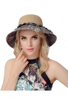 Womens Elegant Straw Braid Color Block Floral Summer Hat Coffee