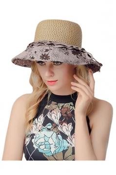 Womens Elegant Straw Braid Color Block Floral Summer Hat Khaki