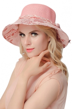 Womens Elegant Straw Braid Color Block Floral Summer Hat Pink