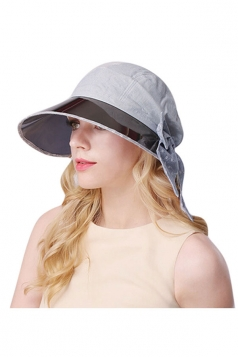 Womens Casual Large Bow Wide Brim Sun Hat Light Blue