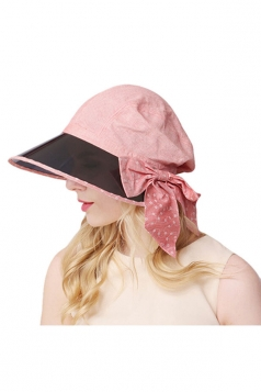 Womens Casual Large Bow Wide Brim Sun Hat Pink