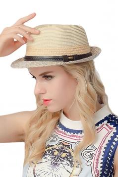 Womens Simple Leather Bucket Straw Braid Hat Beige White