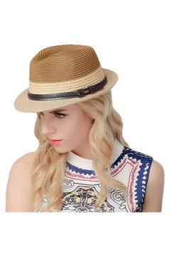 Womens Simple Leather Bucket Straw Braid Hat Coffee