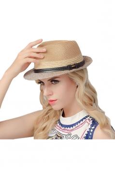 Womens Simple Leather Bucket Straw Braid Hat Khaki