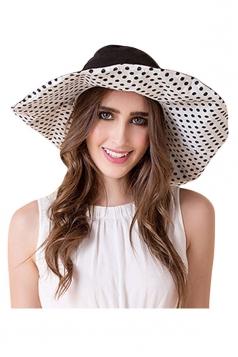 Womens Elegant Polka Dot Bow Decor Wide Brim Hat Black
