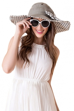 Womens Elegant Polka Dot Bow Decor Wide Brim Hat Gray